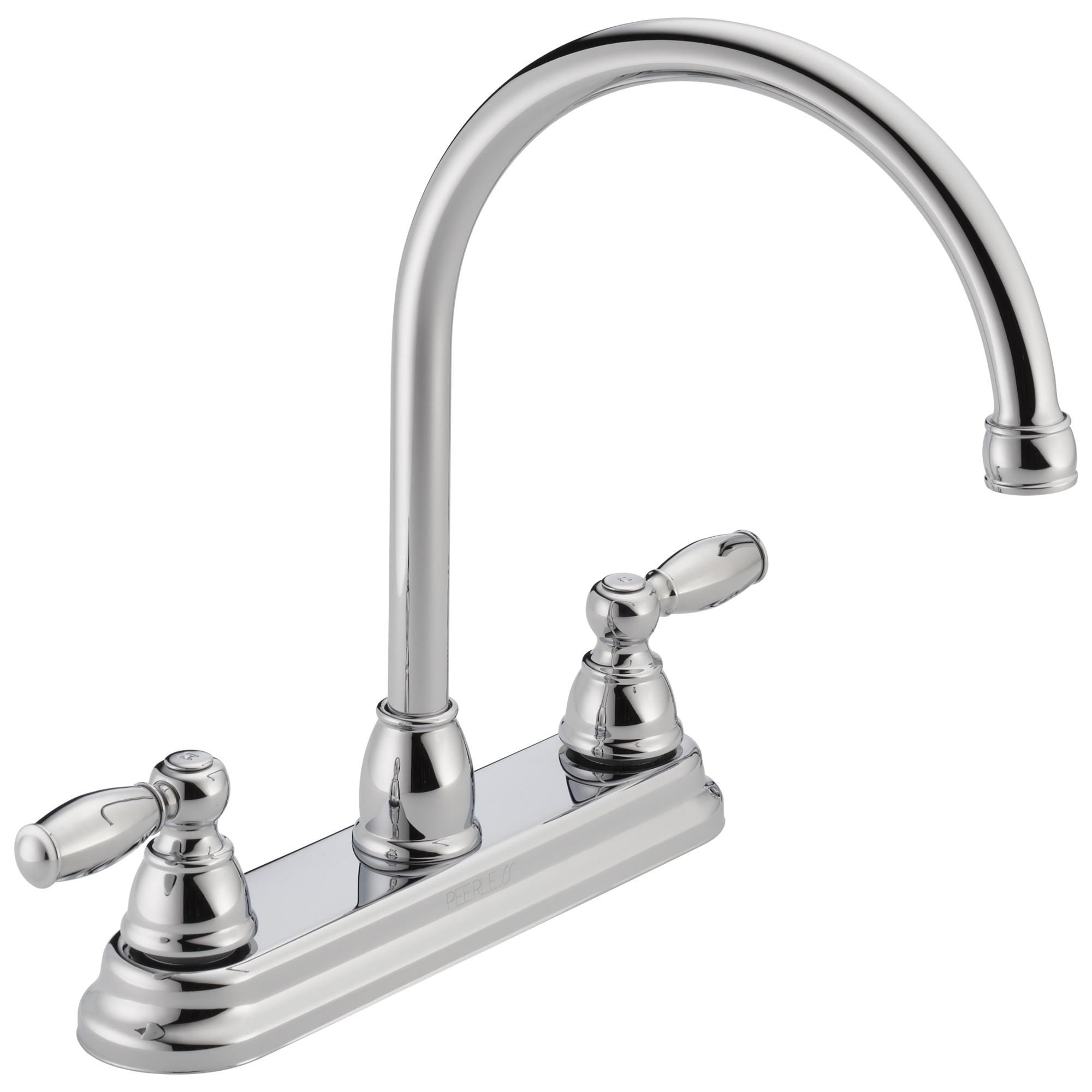 Peerless® P299565LF Kitchen Faucet, 1.8 gpm, 8 in Center, Swivel Spout, Chrome Plated, 2 Handles, Side Spray(Y/N): No, Import, Commercial