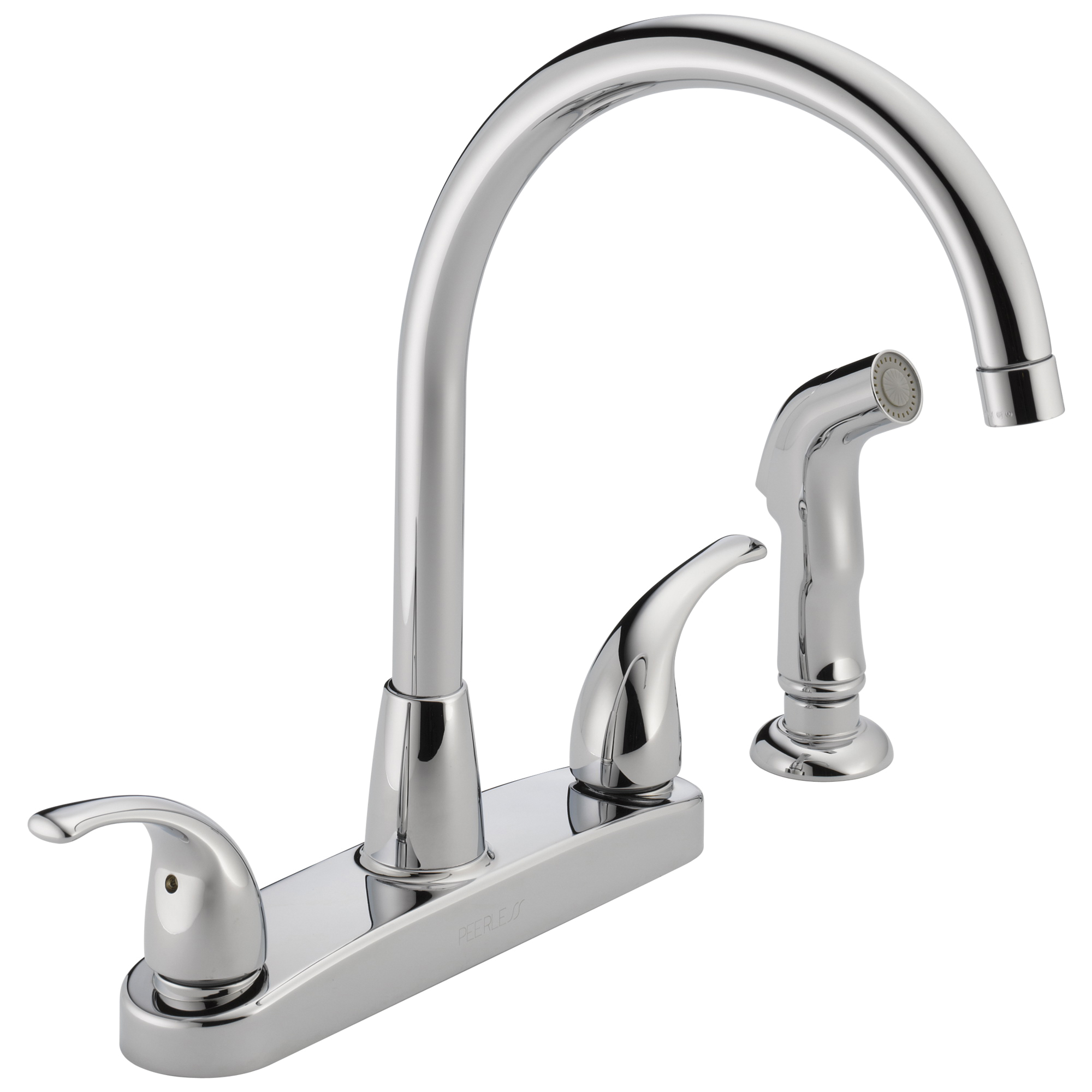 Peerless® P299578LF Kitchen Faucet, Commercial, 1.8 gpm Flow Rate, 8 in Center, Swivel Spout, Polished Chrome, 2 Handles, Import