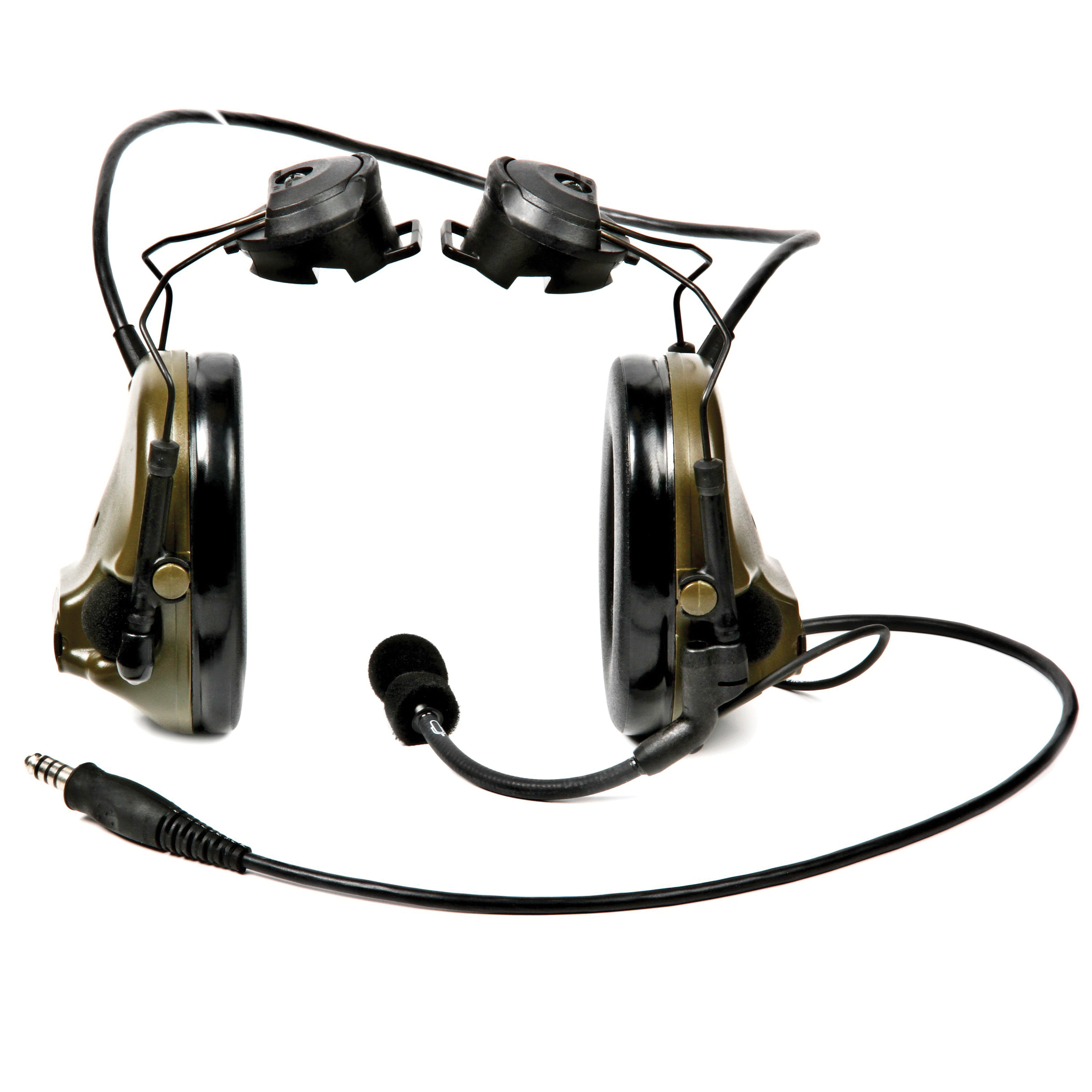 Peltor™ SWAT-TAC™ III 093045-93480 MT Series 2-Way Radio Headset With Dynamic Boom Microphone, 22 dB Noise Reduction, For Use With ACH and MICH Helmet, Helmet Mount, Olive Drab Green/Black