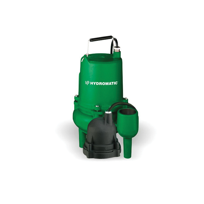 HYDROMATIC® SP40A1 10 Automatic Submersible Sewage Ejector Pump, 140 gpm Flow Rate, 2 in NPT Outlet, 1 ph, 4/10 hp, Cast Iron