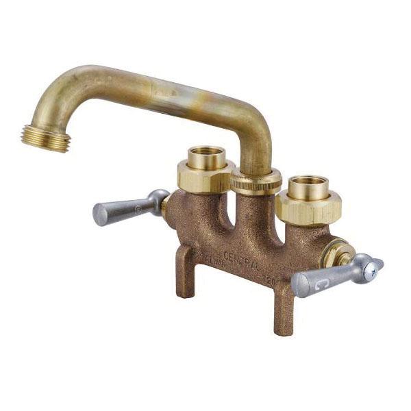 Central Brass 0465 Laundry Faucet, 3-1/2 in Center, NPSH Spout Hose, 2 Handles, Rough Brass, Import