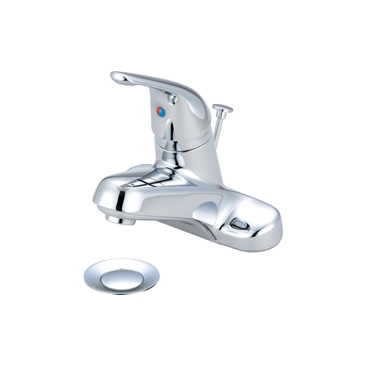 OLYMPIA L-6162 Elite Lavatory Faucet, Polished Chrome, 1 Handles, Brass Pop-Up Drain, 1.2 gpm Flow Rate