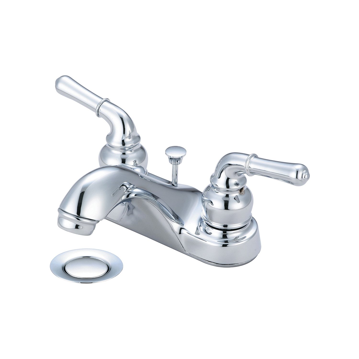OLYMPIA L-7240 Accent Lavatory Faucet, Polished Chrome, 2 Handles, 50/50 Pop-Up Drain, 1.5 gpm Flow Rate