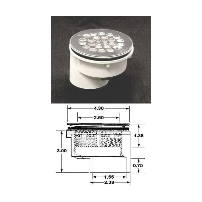 Plastic Oddities PFG610 Offset Shower Stall Drain With Stamped Stainless Steel Strainer, 2 in, 2.6 in Stainless Steel Grid, Fiberglass Drain, Domestic