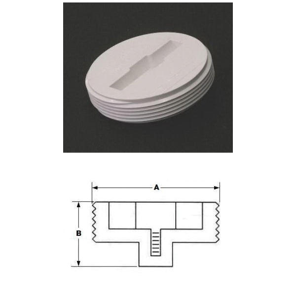 Plastic Oddities PIP3 Recessed Head Cleanout Plug With Metal Insert, For Use With T-Slot Tool or 3/4 in Drive Ratchet, 3 in, PVC