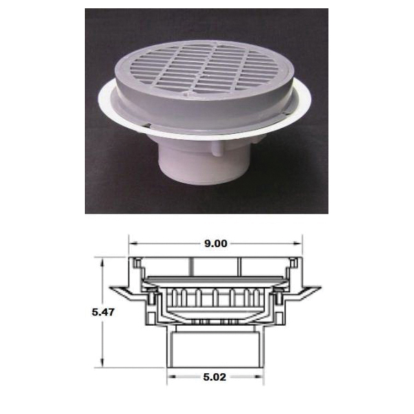 Plastic Oddities PSB952 Over Pipe Fit Grate Floor Drain With Plastic Grate and Sediment Bucket, 4 in Outlet, 8-1/2 in Plastic/Cast Metal Grid, PVC Drain