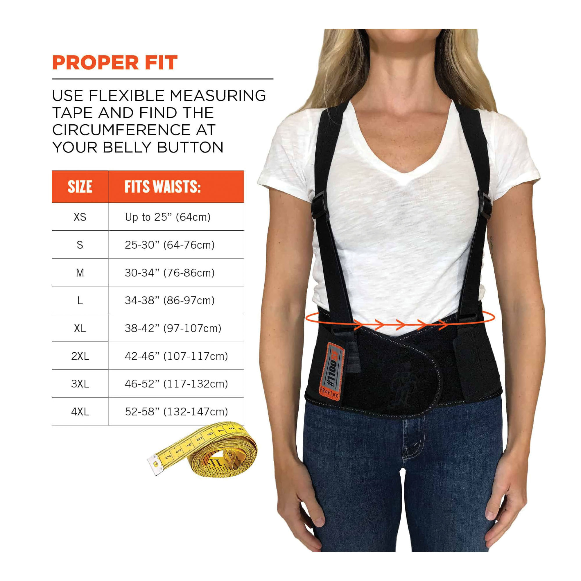 ProFlex® 11493 1505 Low Profile Weight Lifters Back Support, L, 34 to 38 in Fits Waist, 6-1/4 in W, Nylon/Rubber Webbing, Black, Hook and Loop Closure