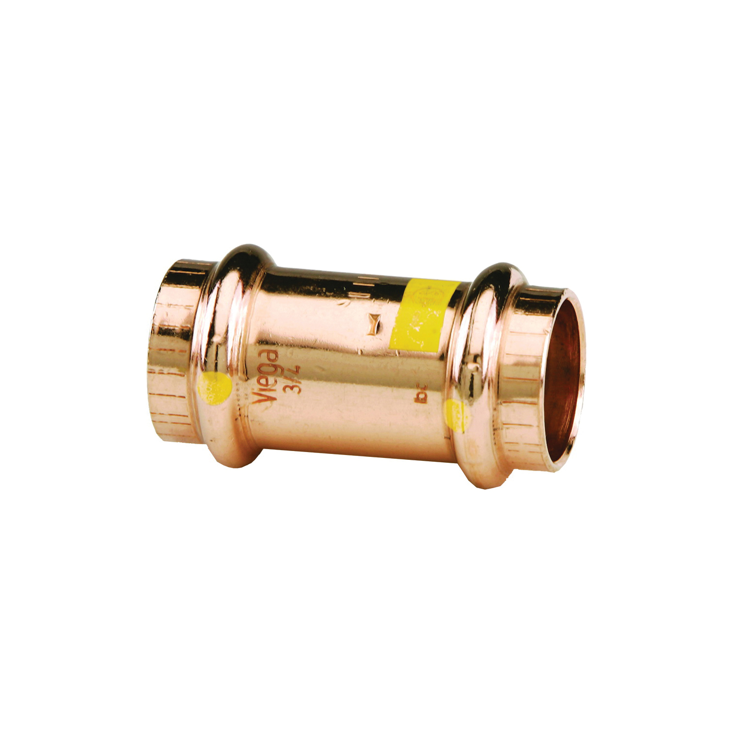 ProPress®G 16098 Pipe Coupling With Stop, 1/2 in Nominal, Press End Style, Copper, Import