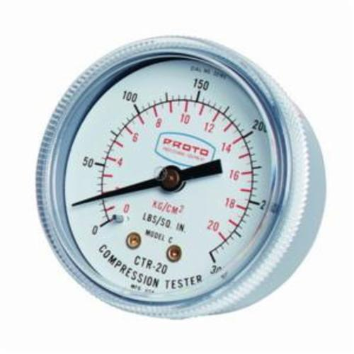 Proto® JCTR20 Imperial /Metric Measuring System Compression Test Gauge Kit, 300 psi, Dial Display, Spark Plug Thread Connector