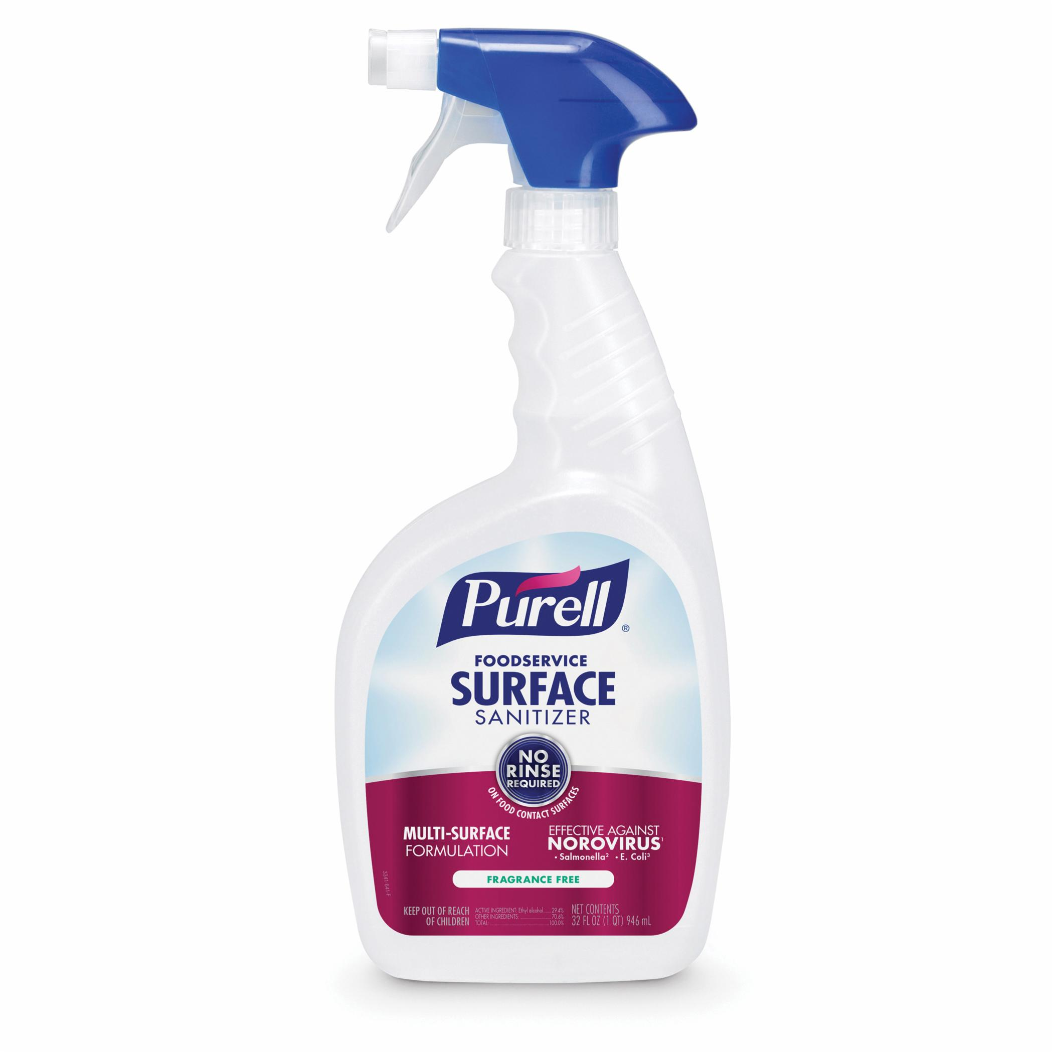 PURELL® 3341-06 Surface Sanitizer, 32 fl-oz Spray Bottle, 12.6 to 12.9, Liquid, Fragrance Free
