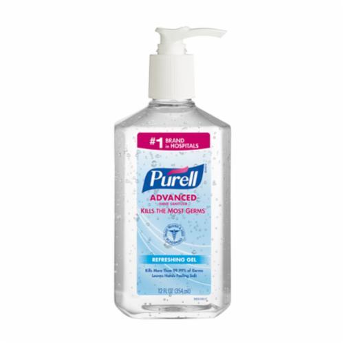 PURELL® 3639-12 Hand Sanitizer, 12 fl-oz Nominal, Bottle Package, Gel Form, Alcohol/Odorless Odor/Scent, Clear/Light Green