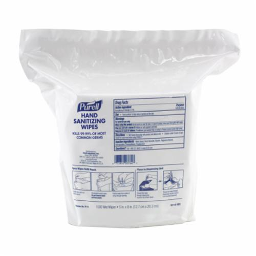 PURELL® 9111-12 Hand Sanitizing Wipes, 100 Count Capacity, Textured, White