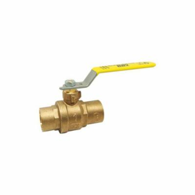 RWV® 5549AB 1 2-Piece Ball Valve With Handle, 1 in Nominal, Solder End Style, Forged Brass Body, Full Port, PTFE Softgoods