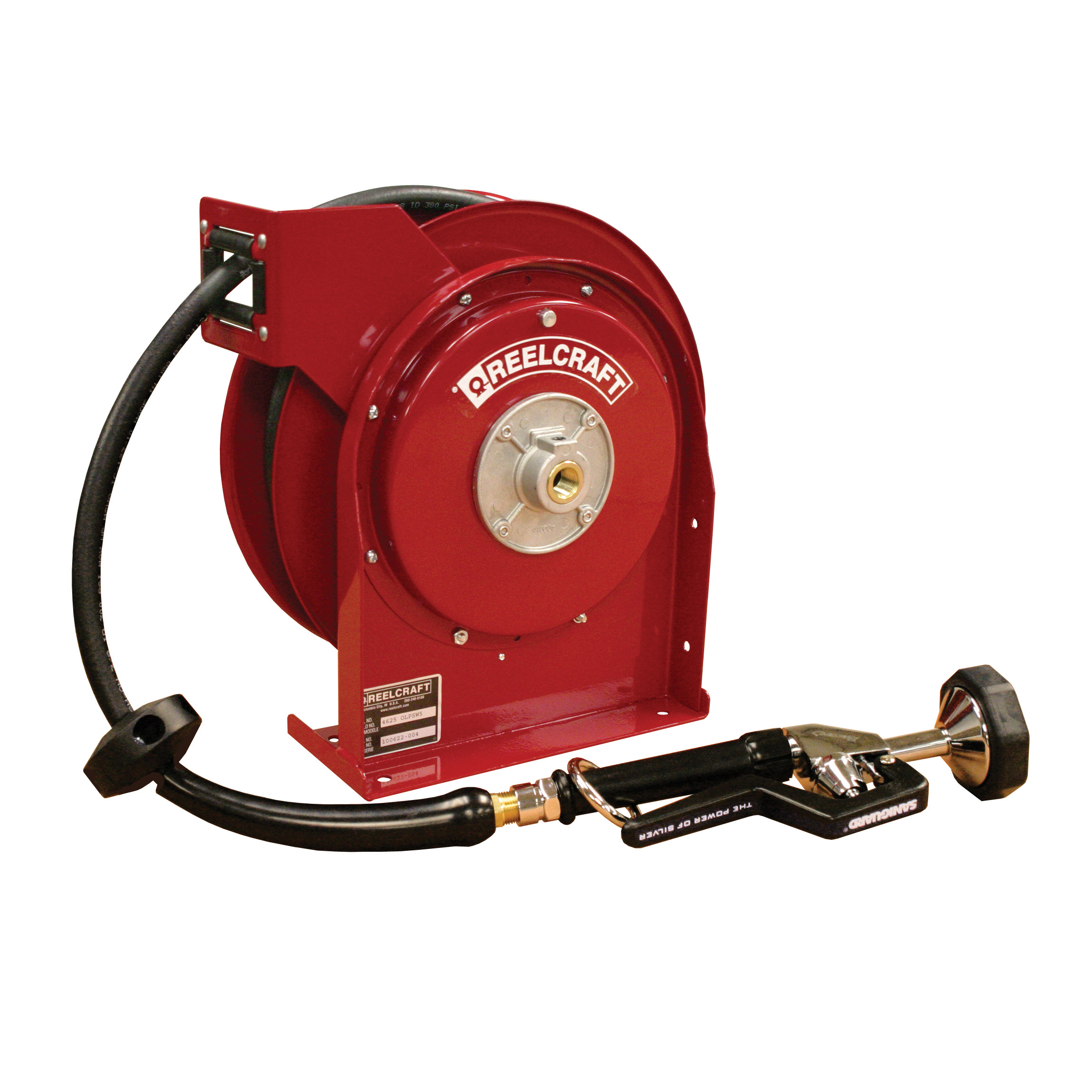 Reelcraft® 4625 OLP 4000 Low Pressure Premium Duty Hose Reel With Hose, 3/8 in ID X 3/5 in OD x 25 ft L Hose, 300 psi Pressure, 12-3/8 in Dia x 2-1/2 in W Reel, Domestic