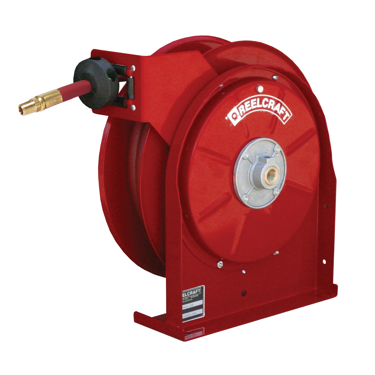Reelcraft® 4625 OLPSW5 4000 Pre-Rinse Crafted Hose Reel With Hose, 3/8 in ID x 16/25 in OD x 25 ft L Hose, 250 psi Pressure, 12-3/8 in Dia x 2-1/2 in W Reel, Domestic