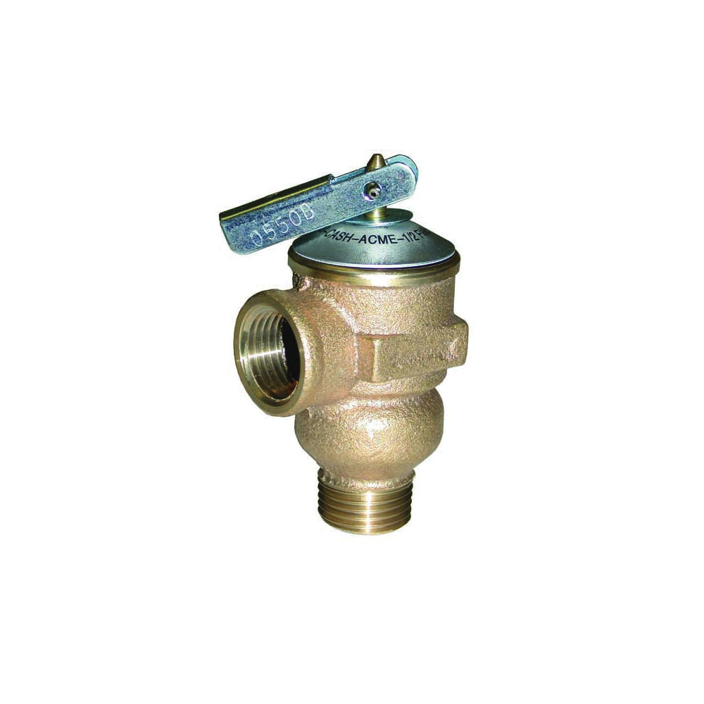 Cash Acme® 23343 FWL-2 Pressure Relief Valve, 3/4 in Nominal, MNPT x FNPT End Style, 150 psi Pressure, Bronze Body