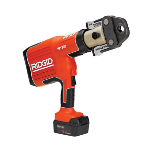 RIDGID® 27923 RP 330-B Press Tool Kit With 1/2 to 2 in Jaws, 1/2 to 4 in Capacity, 7200 lb, 5 s Crimp, 115 VAC, Li-Ion Battery