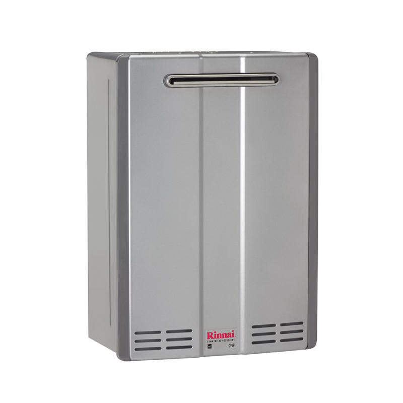 Rinnai® C199eN SE+ Super High Efficiency Tankless Water Heater, Natural Gas Fuel, 199000 Btu/hr, Outdoor, Condensing, 9.8 gpm, Direct Vent, 0.96, Commercial