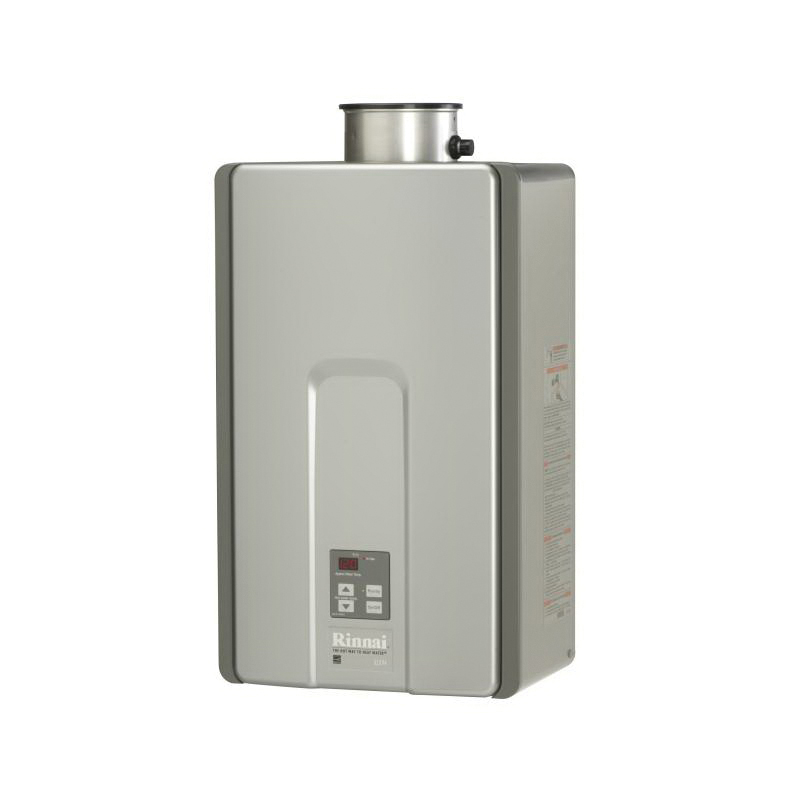 Rinnai® RLX94iN HE+ High Efficiency Tankless Water Heater, Natural Gas Fuel, 199000 Btu/hr Heating, Indoor/Outdoor: Indoor, Non-Condensing, 9.8 gpm Flow Rate, Direct Vent, 0.82, Commercial/Residential