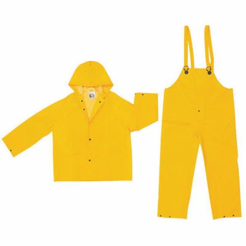 River City 2003 S 3-Piece Rainsuit with Detachable Hood, Small, PVC/Polyester, Yellow, Snap Front Closure