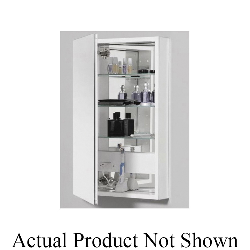 Robern® PLM1630WB Flat Top Medicine Cabinet, PL Series, 15-1/4 in OAW x 30 in OAH, Aluminum, White