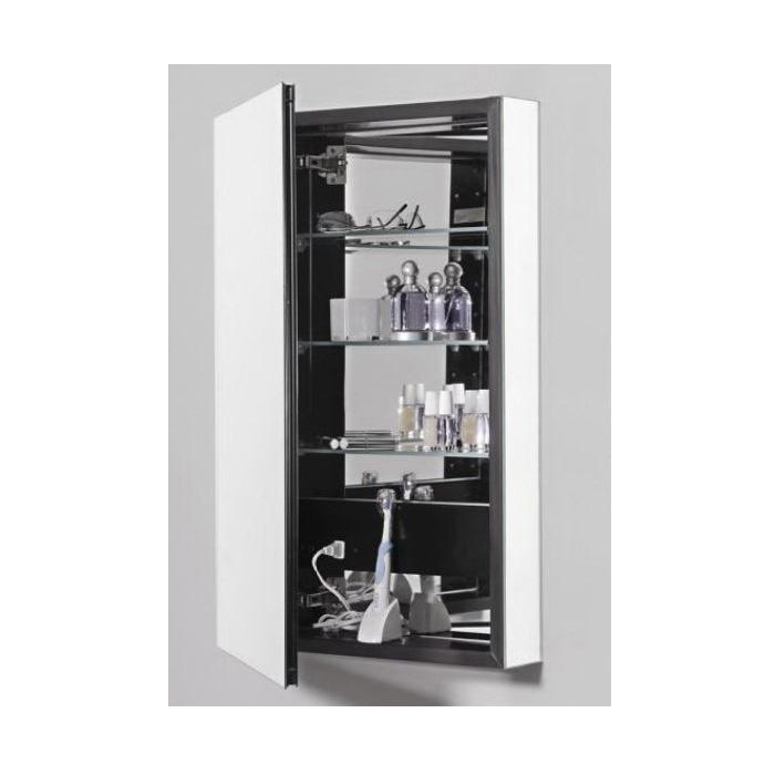 Robern® PLM2030B Flat Top Medicine Cabinet, PL Series, 19-1/4 in OAW x 30 in OAH, Aluminum, Black