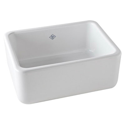 Rohl® RC2418WH Apron Front Kitchen Sink, Rectangular, 24 in W x 18 in D x 10 in H, Fireclay, White