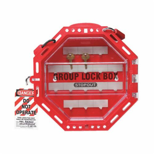 STOPOUT® KCC620 Look n Stop Compact Group Lockout Box, 17 Padlocks, Twist Door, Red, 7-3/4 in H x 7-3/4 in W x 4 in D, Wall Mount