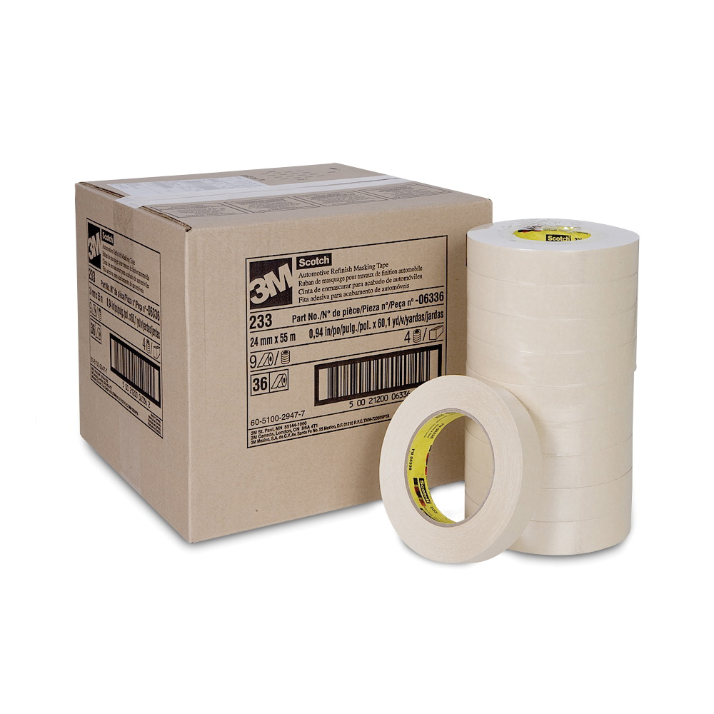 Scotch® 021200-04365 Solvent-Resistant Masking Tape, 55 m L x 48 mm W, Natural Rubber Adhesive, Crepe Paper Backing