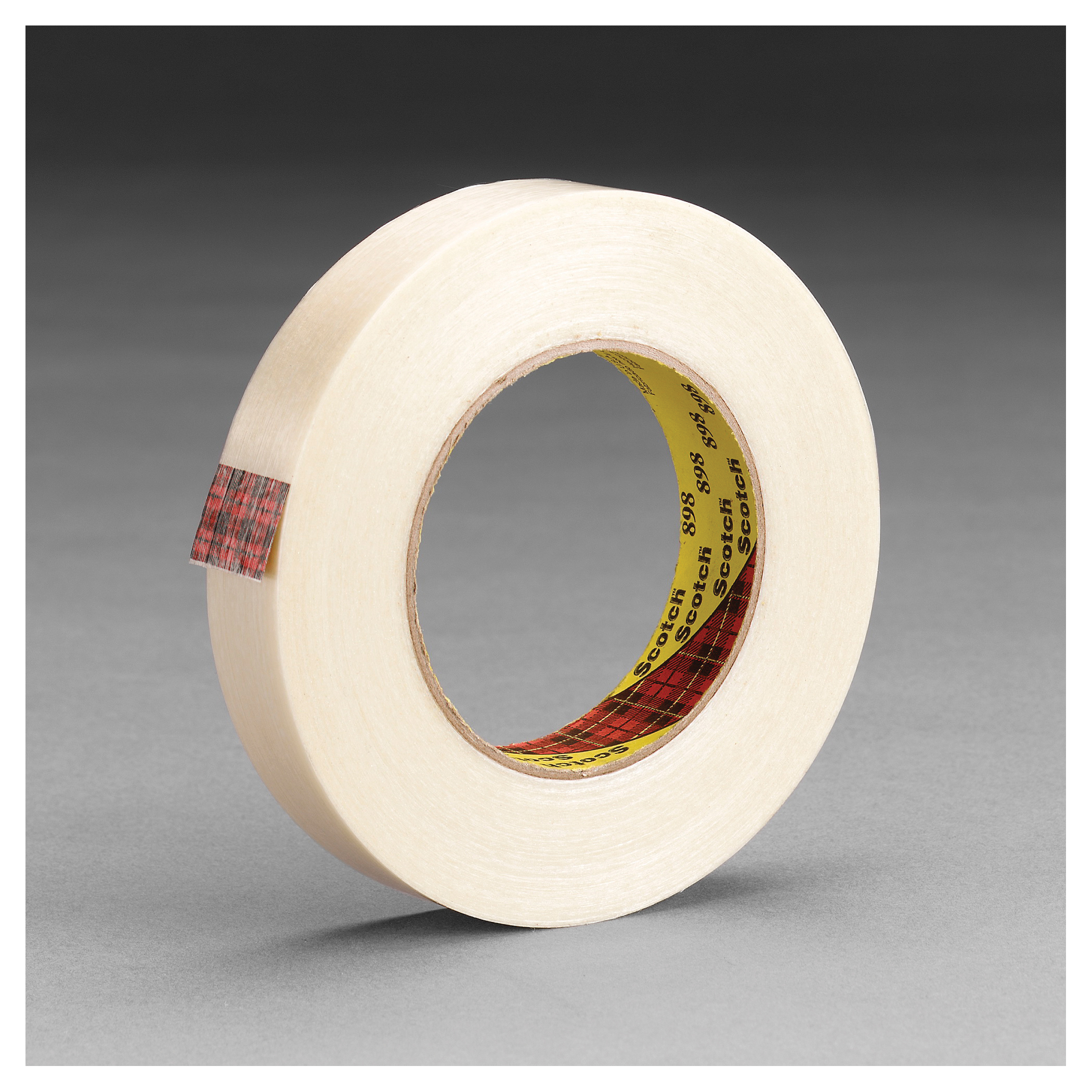 3M™ 021200-86525 897 Filament Tape, 55 m L x 24 mm W, 5 mil THK, Fiberglass Yarn Filament, Synthetic Rubber Adhesive, Polypropylene Backing, Clear