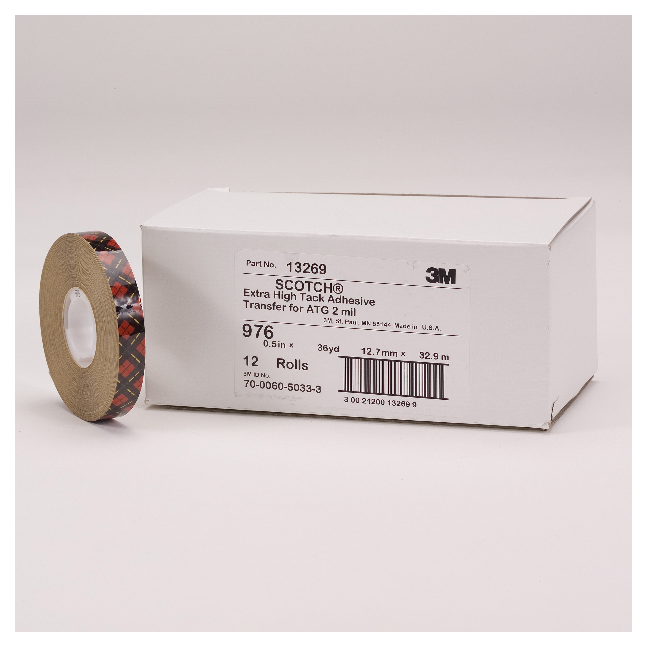 3M™ 021200-40656 High Tack Low Surface Energy Adhesive Transfer Tape, 60 yd L x 3/4 in W, 9.4 mil THK, 5.2 mil 300LSE Acrylic Adhesive, Aluminum Backing, Clear