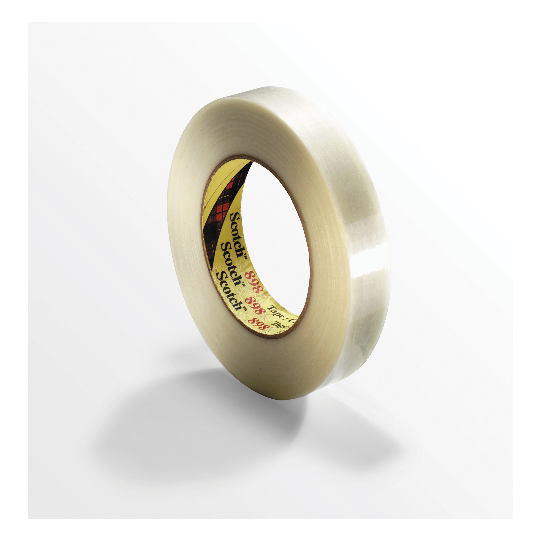 Scotch® 021200-39510 897 Filament Tape, 55 m L x 36 mm W, 5 mil THK, Fiberglass Yarn Filament, Synthetic Rubber Adhesive, Polypropylene Backing, Clear