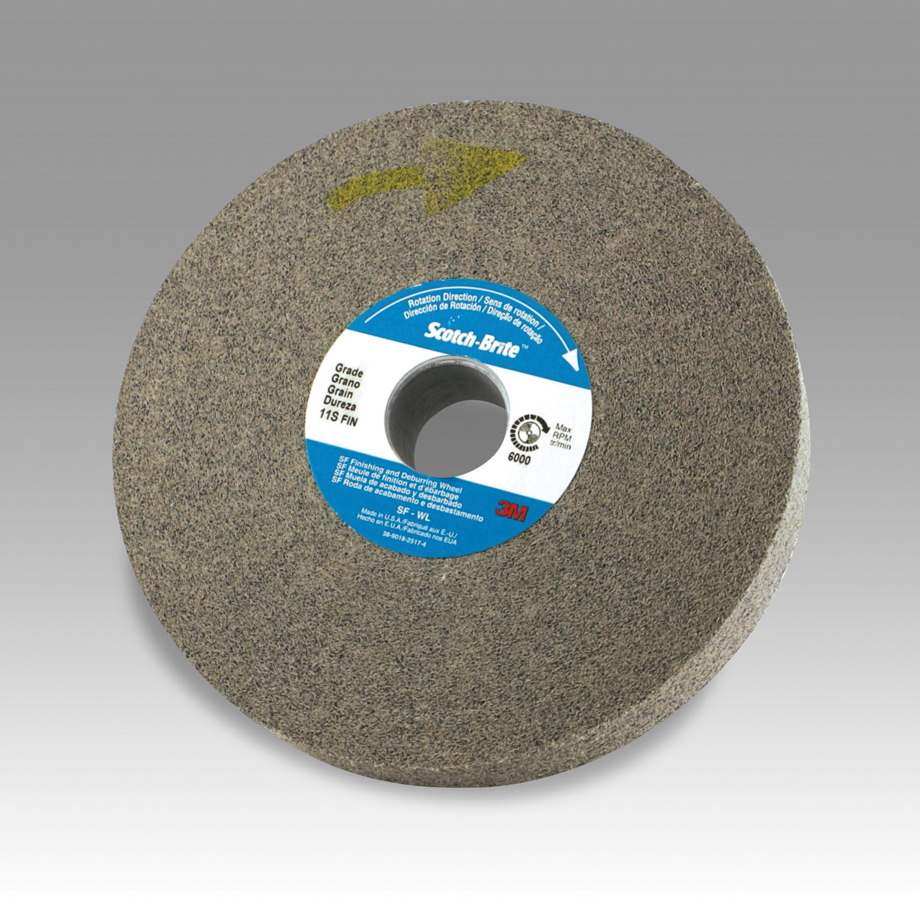 Scotch-Brite™ 048011-01574 CP-UW Cut and Polish Unitized Wheel, 3 in Dia Wheel, 1/2 in Center Hole, 1/2 in W Face, Fine Grade, Aluminum Oxide Abrasive