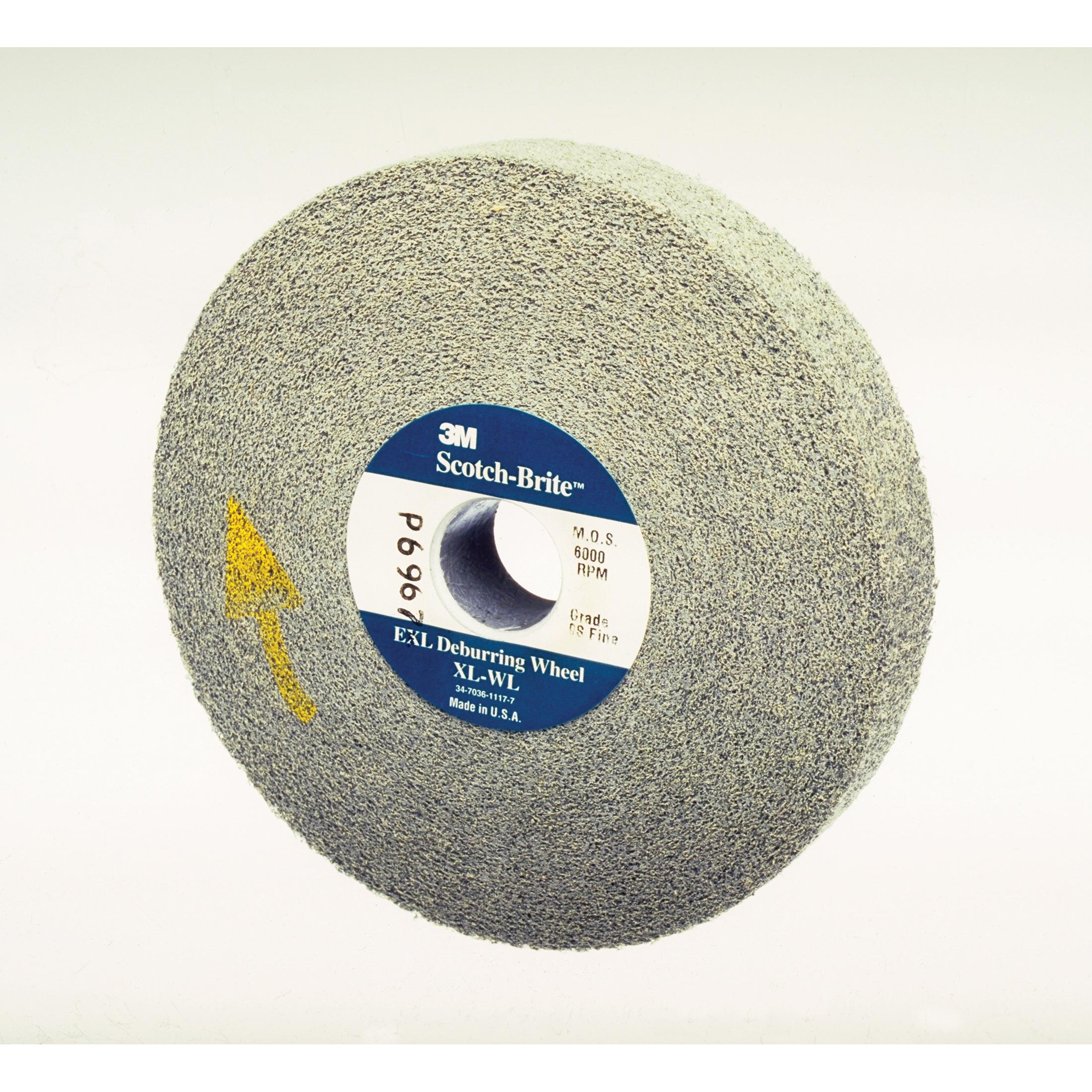 Scotch-Brite™ 048011-01569 CP-UW Cut and Polish Unitized Wheel, 2 in Dia Wheel, 1/4 in Center Hole, 3/4 in W Face, Fine Grade, Aluminum Oxide Abrasive