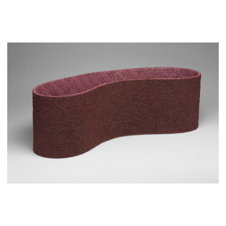 Scotch-Brite™ 048011-00581 SC-BS Backstand Narrow Scrim Surface Conditioning Non-Woven Abrasive Belt, 2-1/2 in W x 60 in L, Medium Grade, Aluminum Oxide Abrasive, Maroon