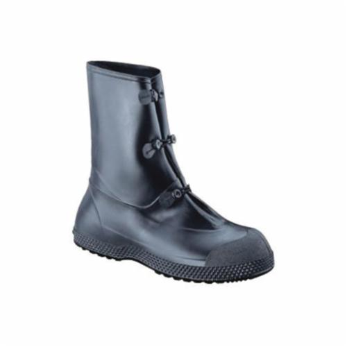 Servus® by Honeywell 11001-L SF™ SuperFit Premium Overboots, Men's, SZ 14 to 13 Fits Shoe, Plain Toe, Black/Yellow, Extra Wide Grip Sole, Tabbed Loop Closure, Leather/PVC Upper/Rubber Midsole Upper & Midsole, Rubber Outsole