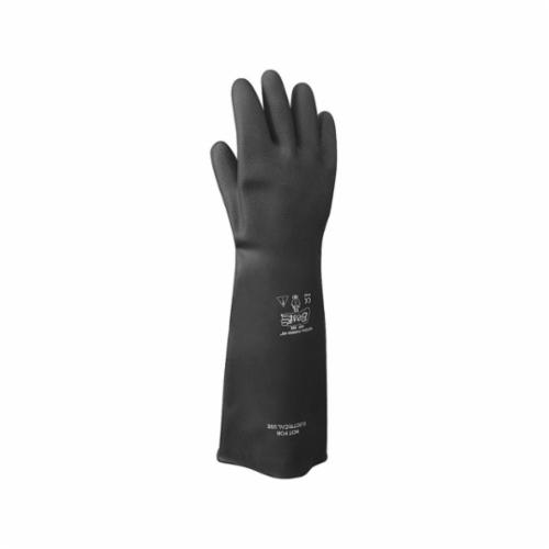 Showa Best® 55-11 Heavy Duty Coated Gloves, 2XL/SZ 11, Natural Rubber Latex, Black, Unlined Lining, 15 in L, Resists: Abrasion, Cut and Tear, Rolled Cuff, 40 mil THK