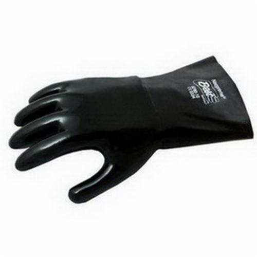 Showa Best® 6780-10 Heavy Duty Reusable Chemical-Resistant Gloves, L/SZ 10, Neoprene, Black, Cotton Flannel Lining, 12 in L, Resists: Acid, Abrasion, Caustic, Cut, Oil, Greases and Many Solvent, Gauntlet Cuff, 15 mil THK