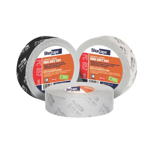 Shurtape® 101015 PC 857 HVAC Grade Printed Duct Tape, 55 m L x 48 mm W, 14 mil THK, Synthetic Rubber Adhesive, Polyethylene Film with Cloth Carrier Backing, Metalized Silver