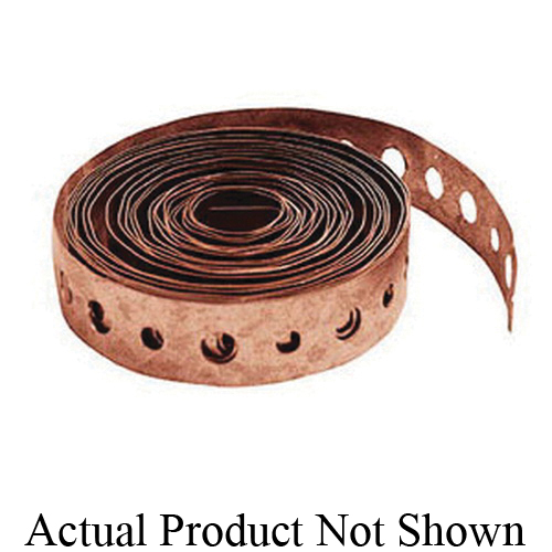 Tomahawk 524-10CPK2 Metal Hanger Strap, Alternating 1/4 and 3/16 in Hole, 10 ft L x 3/4 in W, Copper Plated, Domestic