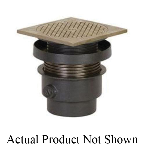 Tomahawk FinishLine™ 834-3DNQ Adjustable On-Grade Cleanout Complete Assembly With Ring and Strainer, 3 in Cleanout, 6-5/8 in Dia Cover, Ductile Iron