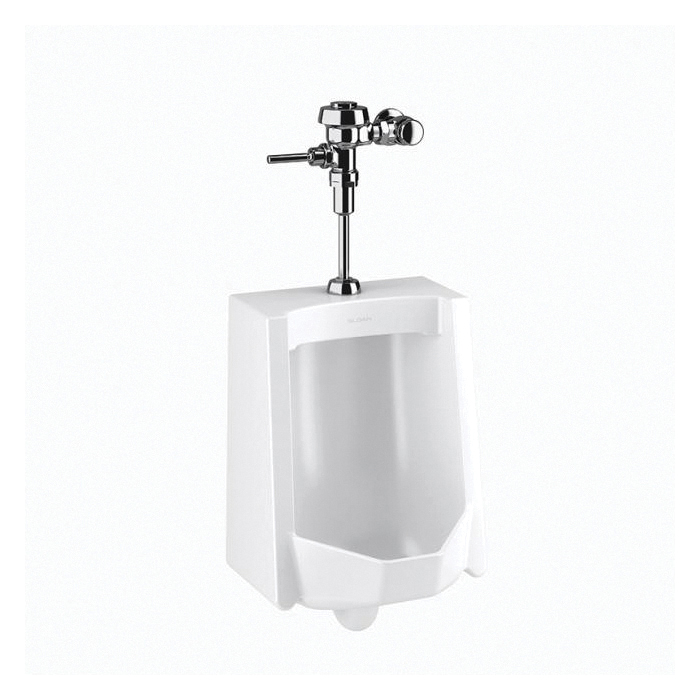Sloan® 10001001 WEUS-1000 Standard Urinal and Flushometer, 0.125 gpf, Top Spud, Wall Mount, Polished Chrome
