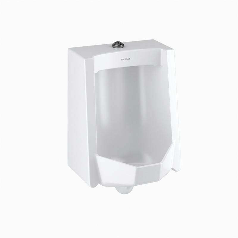 Sloan® 1101009 SU-1009-A Standard Washdown Urinal Fixture, 0.125/0.5 gpf, Top Spud, Wall Mount, White