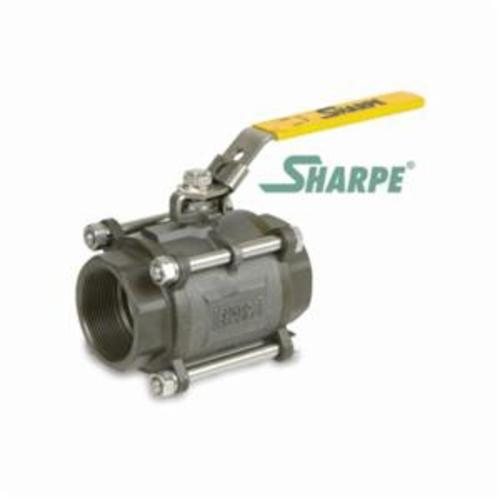 Sharpe® SV39034SW010 39034 3-Piece Ball Valve, 1 in Nominal, Socket Weld End Style, Carbon Steel Body, Full Port, PTFE Softgoods