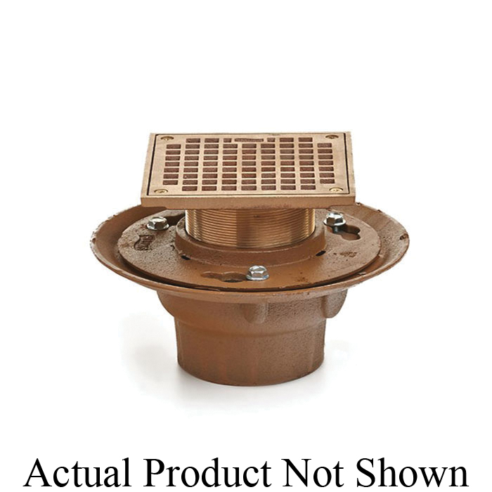Smith® 2005Y02 (-B05NB) Floor Drain, 2 in Outlet, No-Hub Connection, 5 in, Cast Iron Drain