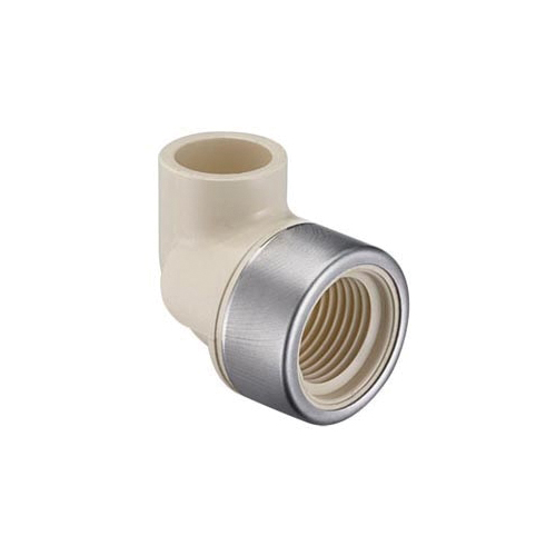 Spears® EverTUFF® 4107-005SR 90 deg Elbow With Stainless Steel Collar, 1/2 in, CTS Socket x Special Reinforced FNPT, CPVC, Domestic