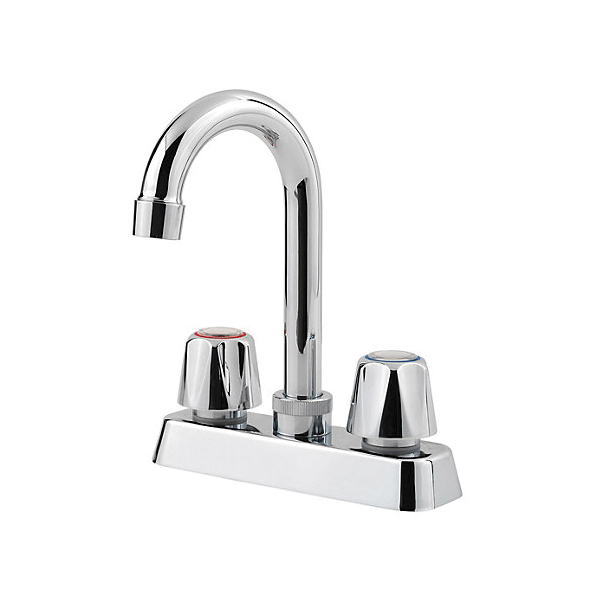 Pfister® G171-4000 Bar and Kitchen Island Faucet, Pfirst Series™, Polished Chrome, 2 Handle, 4 in Center, 1.8 gpm