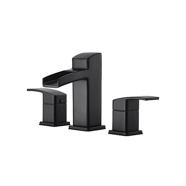 Pfister® LG49-DF0B Kenzo™ Professional Grade Widespread Lavatory Faucet, 1.2 gpm Flow Rate, 3-21/32 in H Spout, 8 to 15 in Center, Matte Black, 2 Handles, Metal Pop-Up Drain
