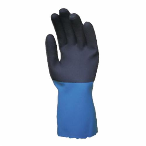 StanZoil® NK-22-10 Medium Weight Chemical-Resistant Gloves, SZ 10, Neoprene, Blue, Cotton Knit Wrist Lining, 14 in L, Pinked Cuff, 30 mil THK