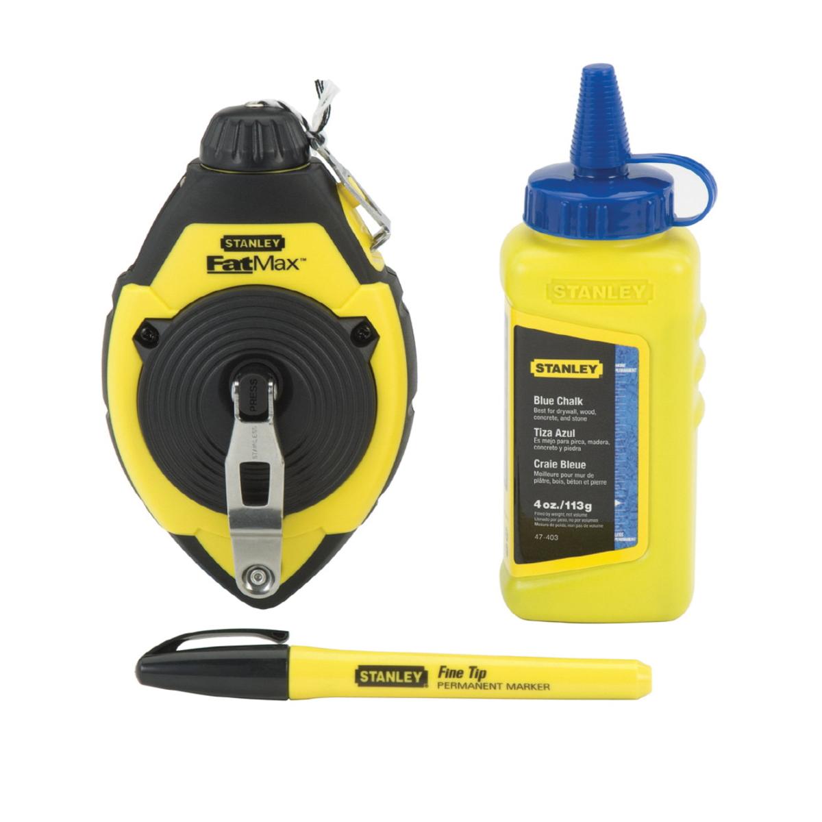 Stanley® FatMax® Xtreme™ 47-480 Chalk Line Reel, 100 ft L Polymer Line, 4 oz Chalk, Sliding Side Door, Folding Recessed Plastic Crank Handle